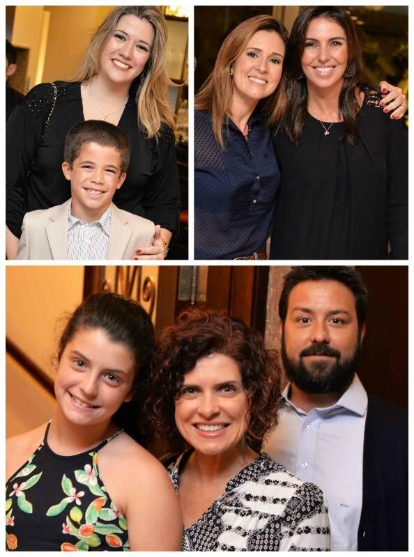 Em cima, à esquerda, a sócia Renata Andriola e o filho, Pedro; ao lado, Renata Capucci e Glenda Koslowski; e, embaixo, Rafaela e Flavia Quaresma com Paulo de Abreu e Lima; Fotos: Ari Kaye