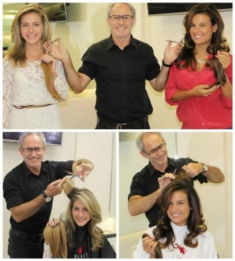 Hanna e Úrsula doaram uma boa extensão de seus cabelos para a campanha abraçada por Rudi Werner na sua rede de salões / Foto: divulgação