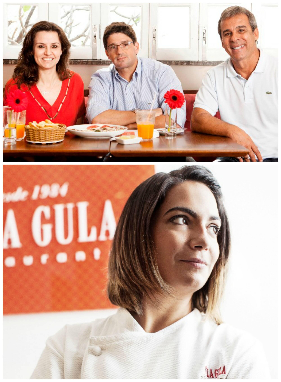 No alto, os atuais sócios, Patrícia Wiethaueper, Duda Daniel e Pedro de Lamare; acima, a chef Nanda / Foto: divulgação