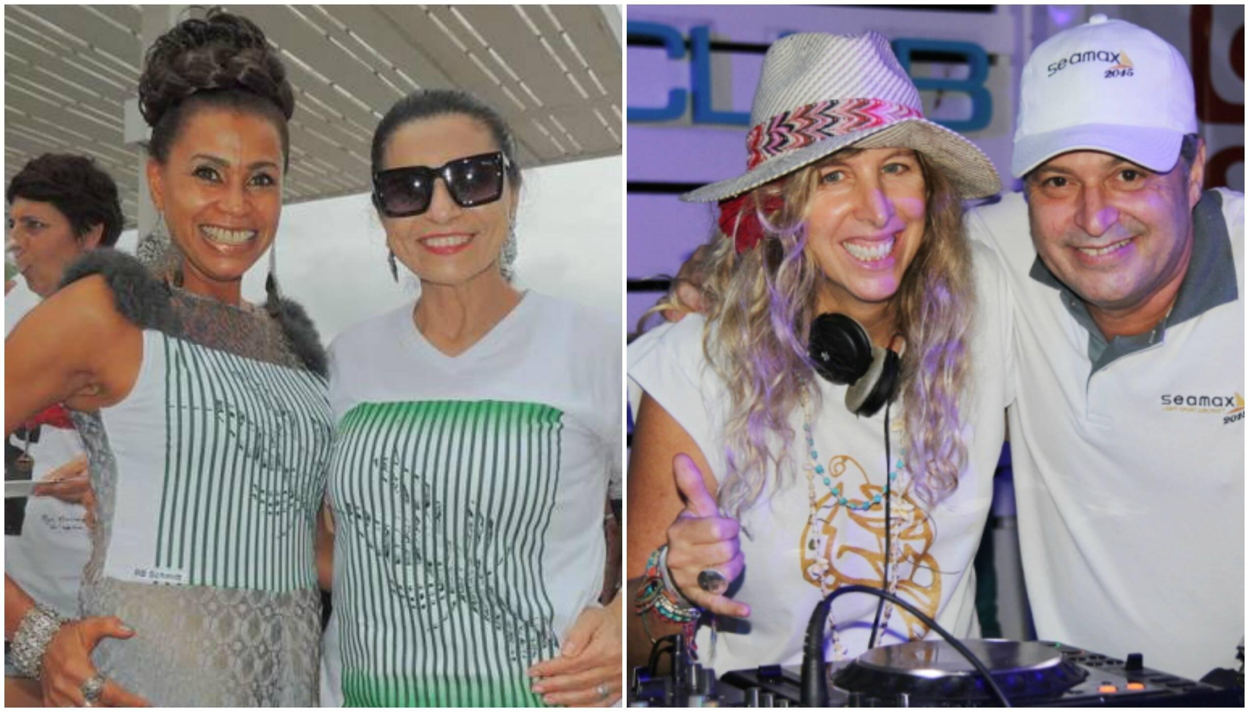 No alto, Ilda e Karina D'Ávila; à direita, Marcela Rica; acima, solange Modica e BB Schmitt; ao lado, os DJs Luluta Alencar e Bernard de Castejá / Fotos: divulgação