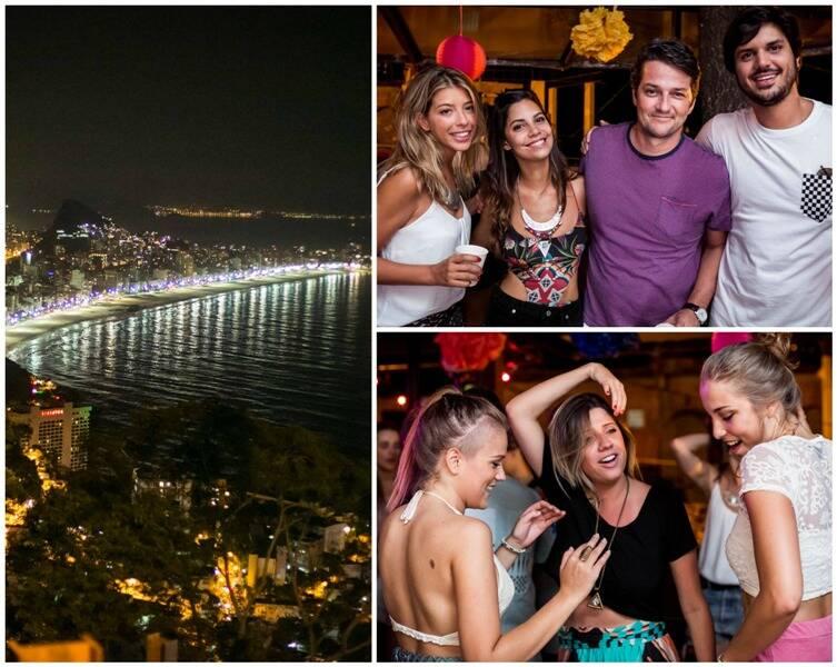 à esquerda, a vista do alto do Vidigal; ao lado, Roberta Fernandes e Marcelo Serrado com amigos; e as meninas animadas na pista/ Fotos: Marcos Samerson