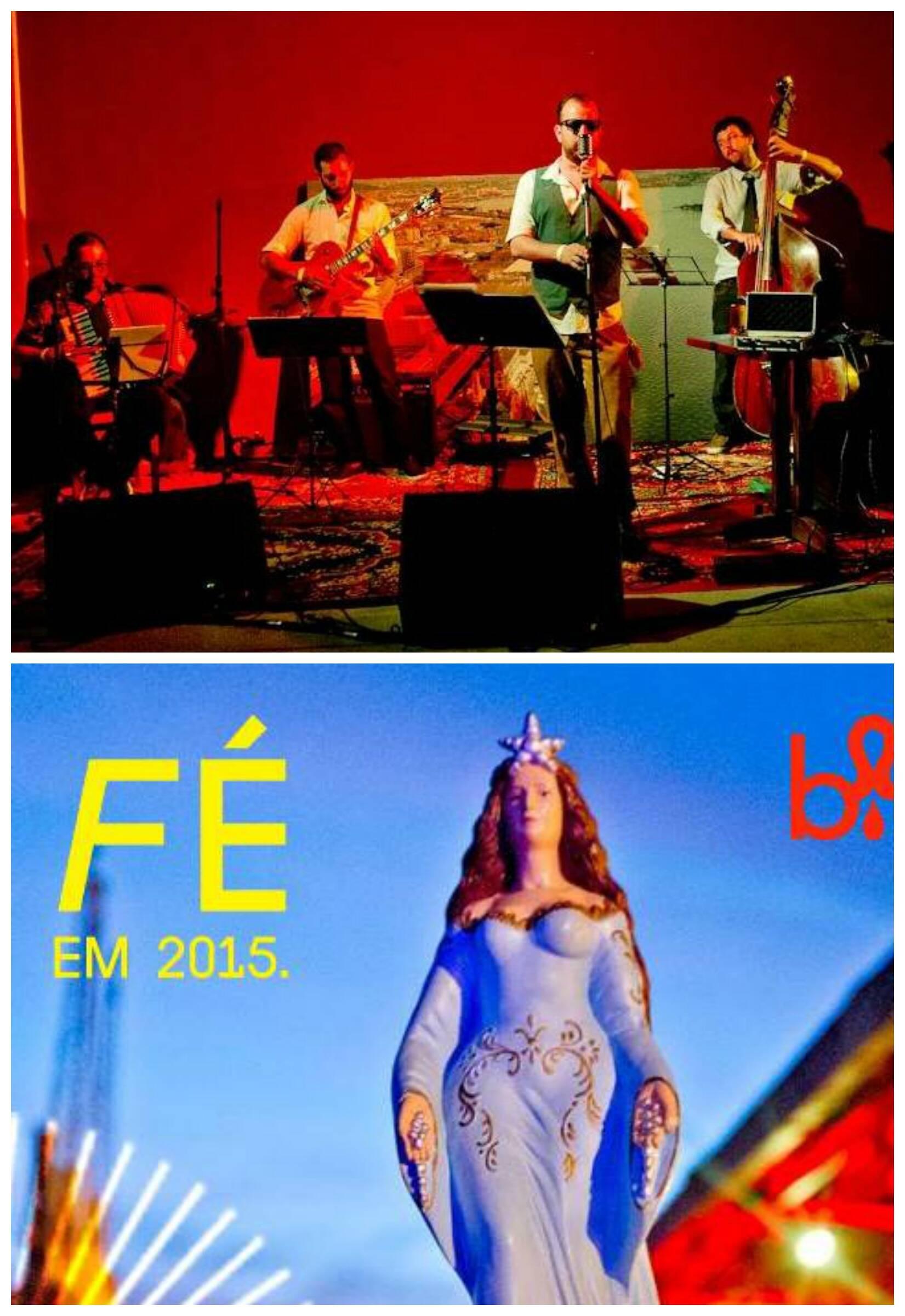 No alto, a OgroJazzBand em ação e, acima, o convite para a primeira festa Bailinho de 2015 / Fotos: Mariana Vianna