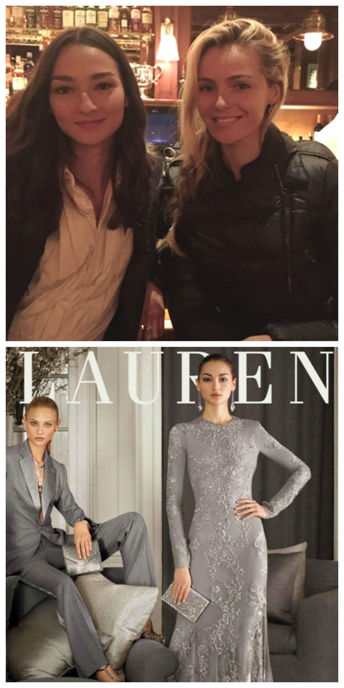 No alto, Bruna Tenório e a modelo russa Valentina Zelyaeva, na inauguração do restaurante Ralph Lauren; abaixo, a modelo brasileira na mais recente campanha da marca, à direita / Fotos: divulgação