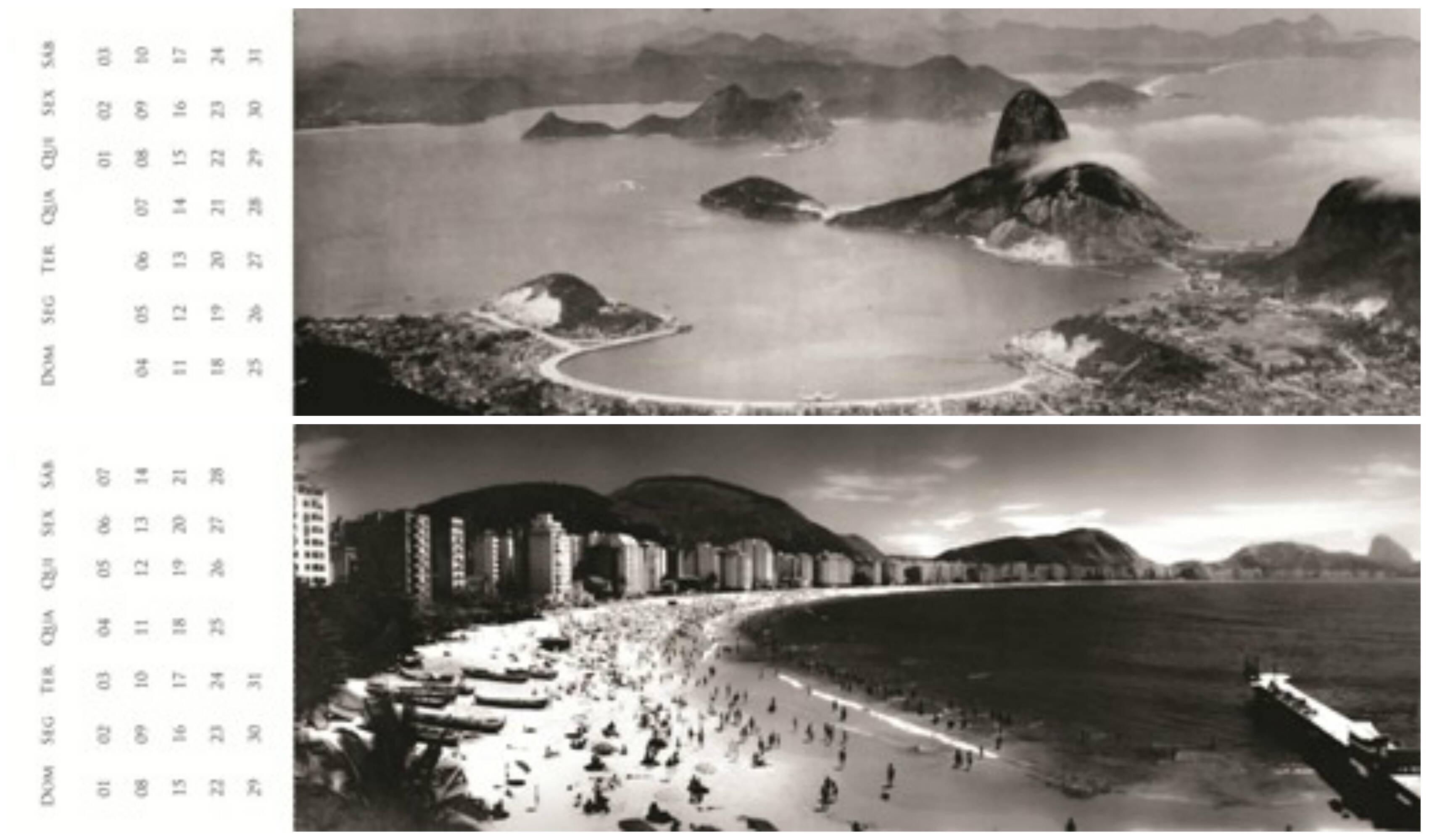 Os meses de janeiro e março em fotos do Rio Antigo, no calendário/marcador do Arquivo Geral do Rio de Janeiro / Foto: divulgação