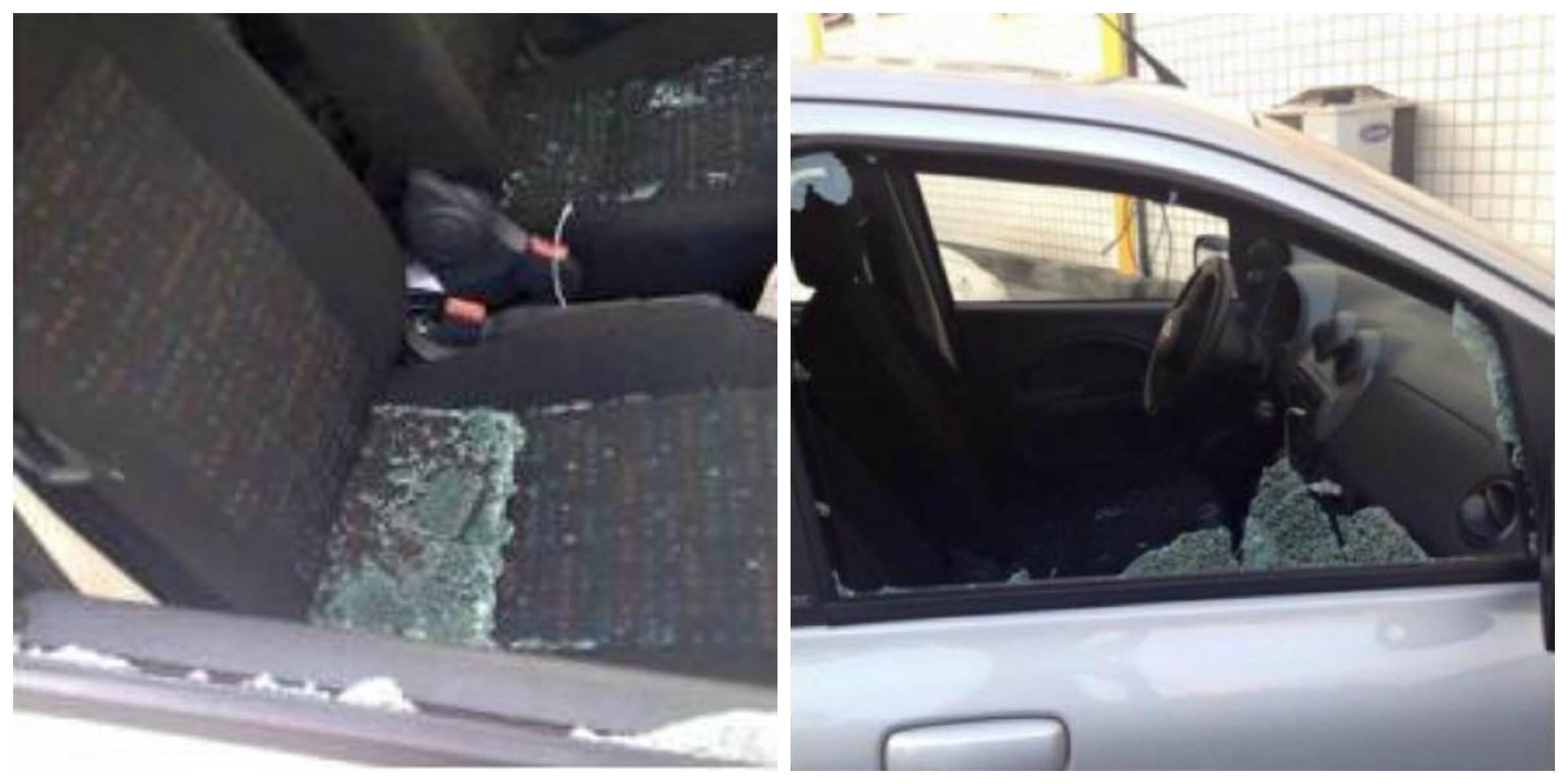 Os vidros estilhaçados do Fiat atingido pelo skate do ladrão motoqueiro / Fotos: Karla Vilar