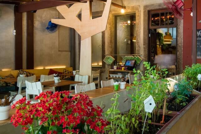 A horta do Empório Jardim em primeiro plano: o restaurante tem uma identidade visual única / Foto: Tomás Rangel