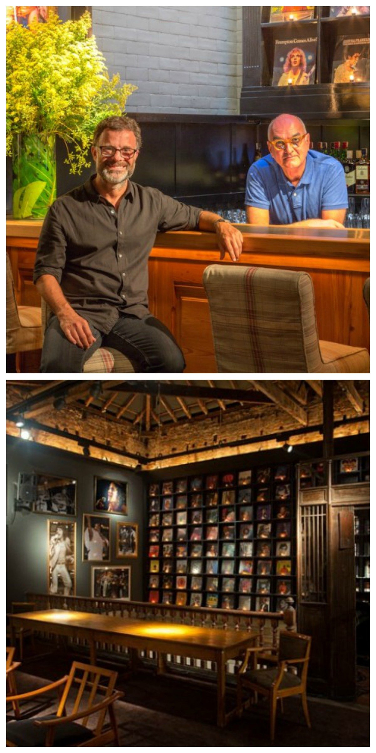 No alto, Roberto Figueiredo e Luiz Eduardo Almeida na casa que abre nesta quinta-feira, em Ipanema; acima, o bar que foi point no Casa Cor 2012, com 154 capas de lps nas paredes / Fotos: divulgação