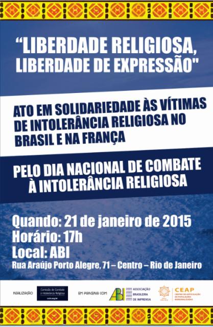 O panfleto de convocação à reunião desta quarta-feira (21/01), na sede da ABI, no Centro do Rio / Foto: divulgação