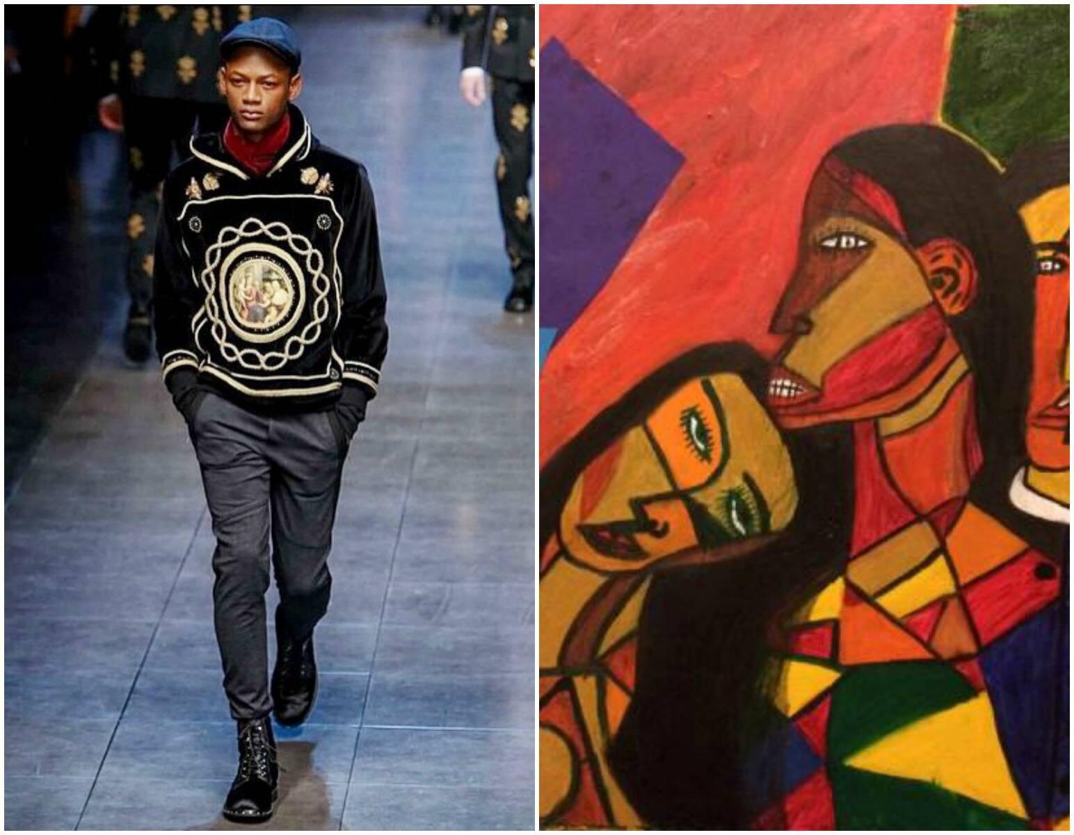 Lucas, no alto, em foto de estúdio e, acima, nesse fim de semana, na passarela da Dolce & Gabbana em Milão; à direita, tela pintada pelo modelo / Fotos: divulgação