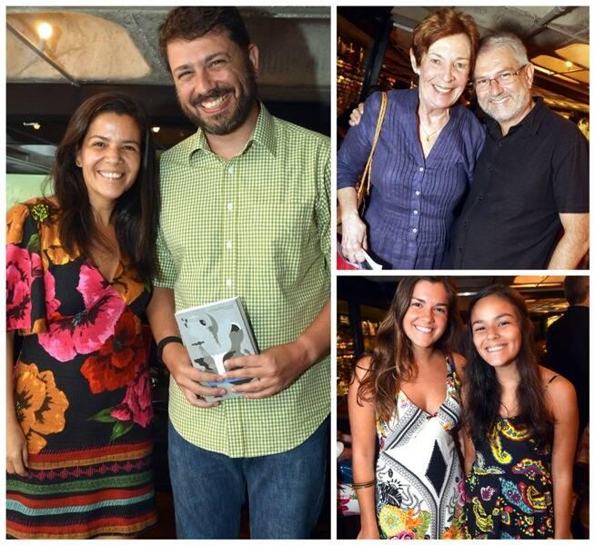 À esquerda, a autora Adriana Barsotti com o jornalista Pedro Doria; ao lado, Angela do Rego Monteiro e Agostinho Vieira; e, embaixo, as irmãs Maria Clara e Maria Paula Barsotti/ Fotos: Cristina Granato
