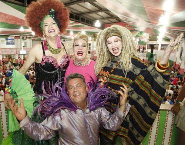 A drag queen Samile Cunha, Rogéria, Elke Maravilha e Milton Cunha: os quatro mais David Brazil vão  agitar o baile gay da Mangueira / Foto: divulgação
