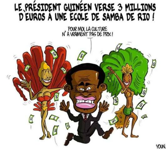 """Diz a charge publicada no site Jeune Afrique:  """"O presidente da Guiné destinou 3 milhões de euros a uma escola de samba do Rio - Para mim, a cultura não tem preço / Foto: reprodução da internet"""