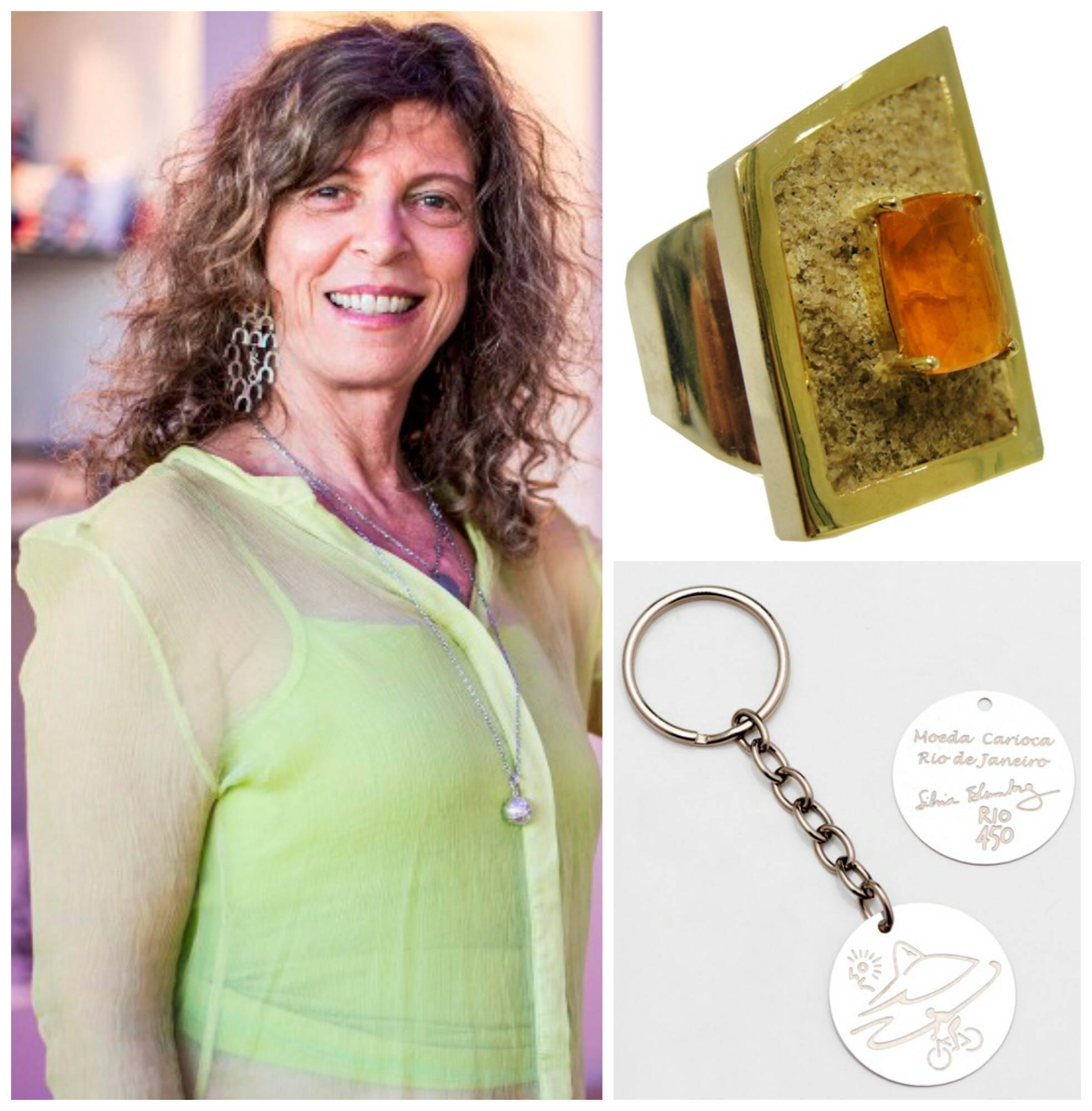 A joalheira Sílvia Blumberg, à esquerda, o anel de prata com opala, areia da praia e ouro na borda e o chaveiro em homenagem ao aniversário do Rio/ Fotos: divulgação
