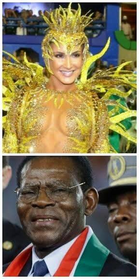 Claudia Leitte e o ditador Teodoro Obiang: no número de homens na Marquês de Sapucaí, a cantora foi campeã