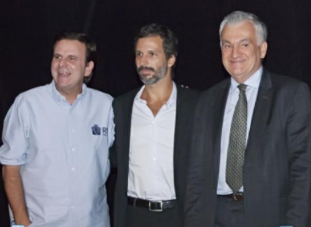 O prefeito Eduardo Paes, o novo presidente da Funarte, Francisco Bosco, e o ministro da Cultura Juca Ferreira/ Foto: S. Castellano