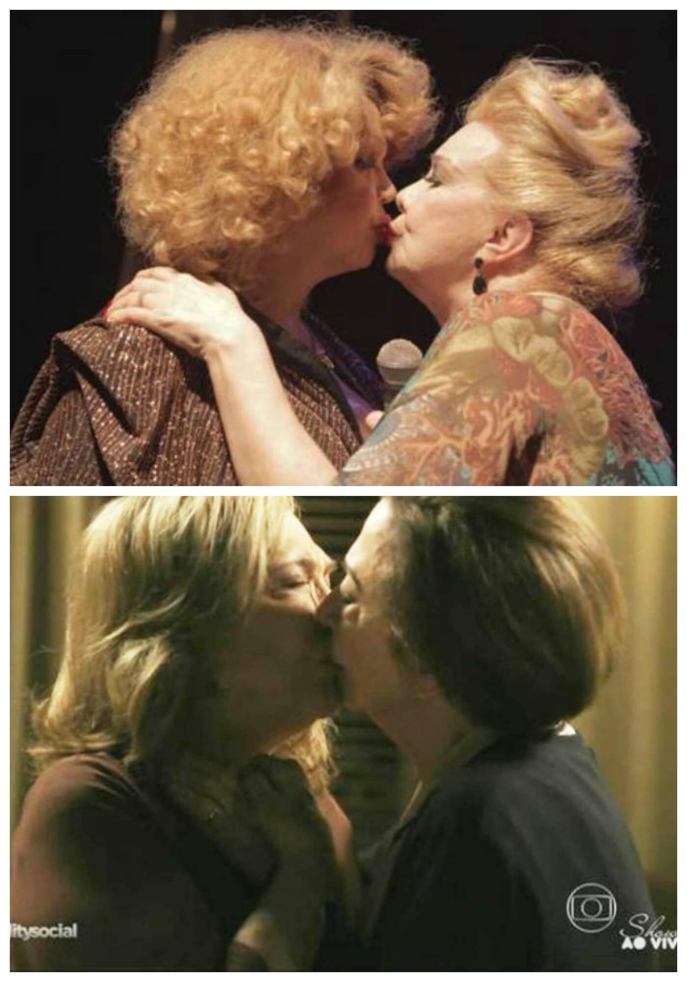 Jane di Castro e Rogéria, no alto, em beijo dado no palco do Baden Powell, no fim do ano passado; acima, a cena polêmica de Babilônia/ Fotos: Facebook e TV Globo