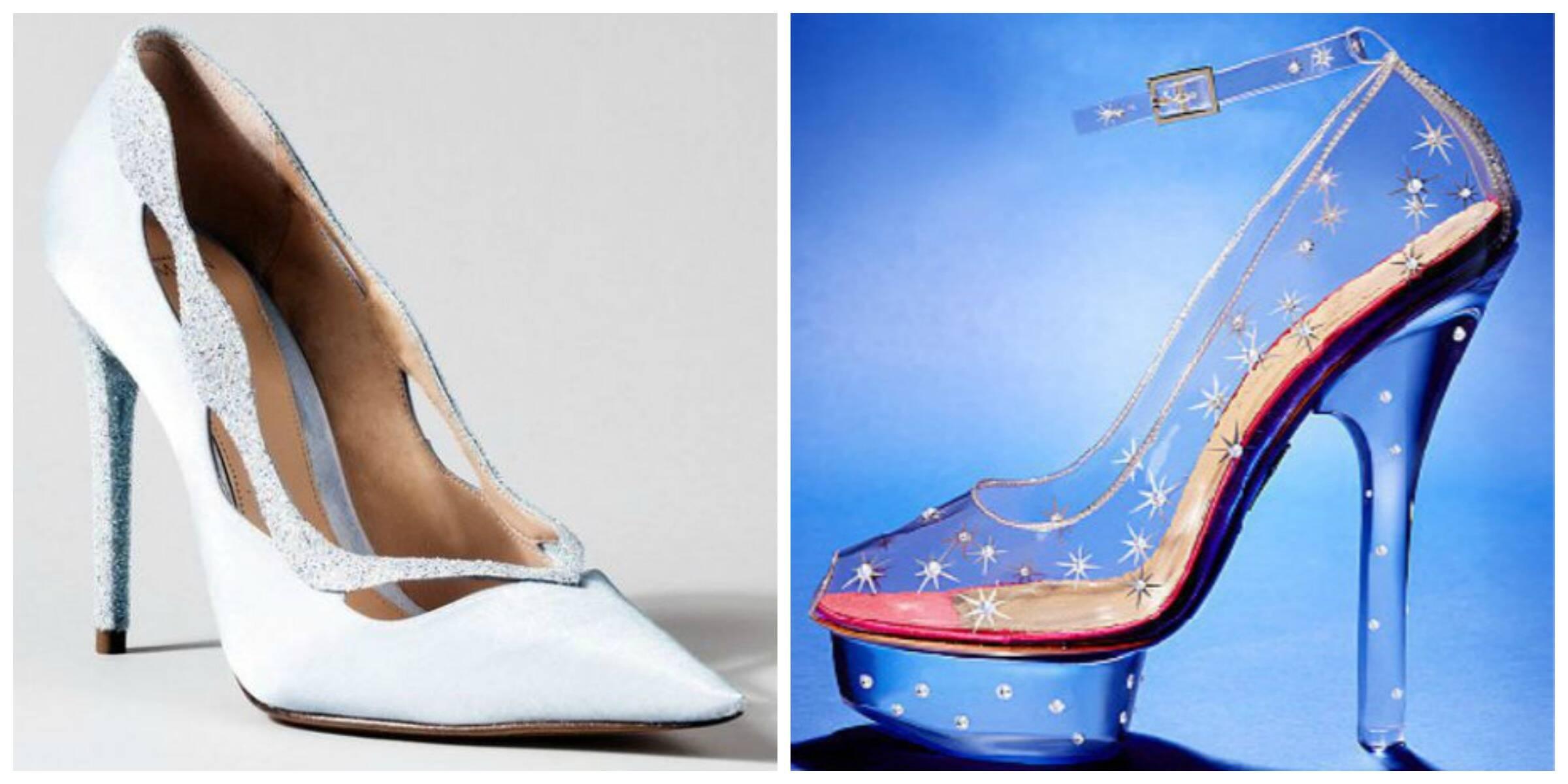 Os sapatos de Cinderela criados por Alexandre Birman, à esquerda, e por Charlotte Olympia/ Foto: divulgação