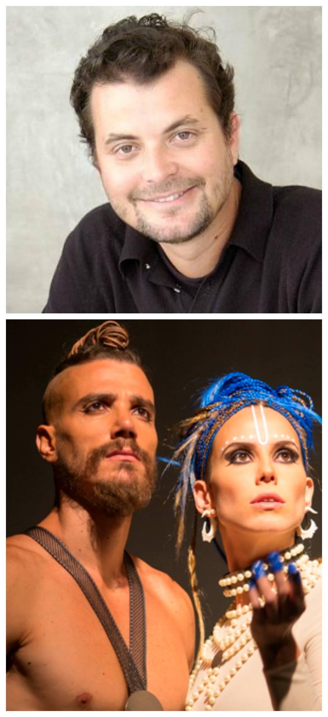 Miguel Pinto Guimarães, no alto; acima, os atores Lívia de Bueno e Luca Bianchi, nos papeis de Arjuna e Krishna/ Foto: divulgação