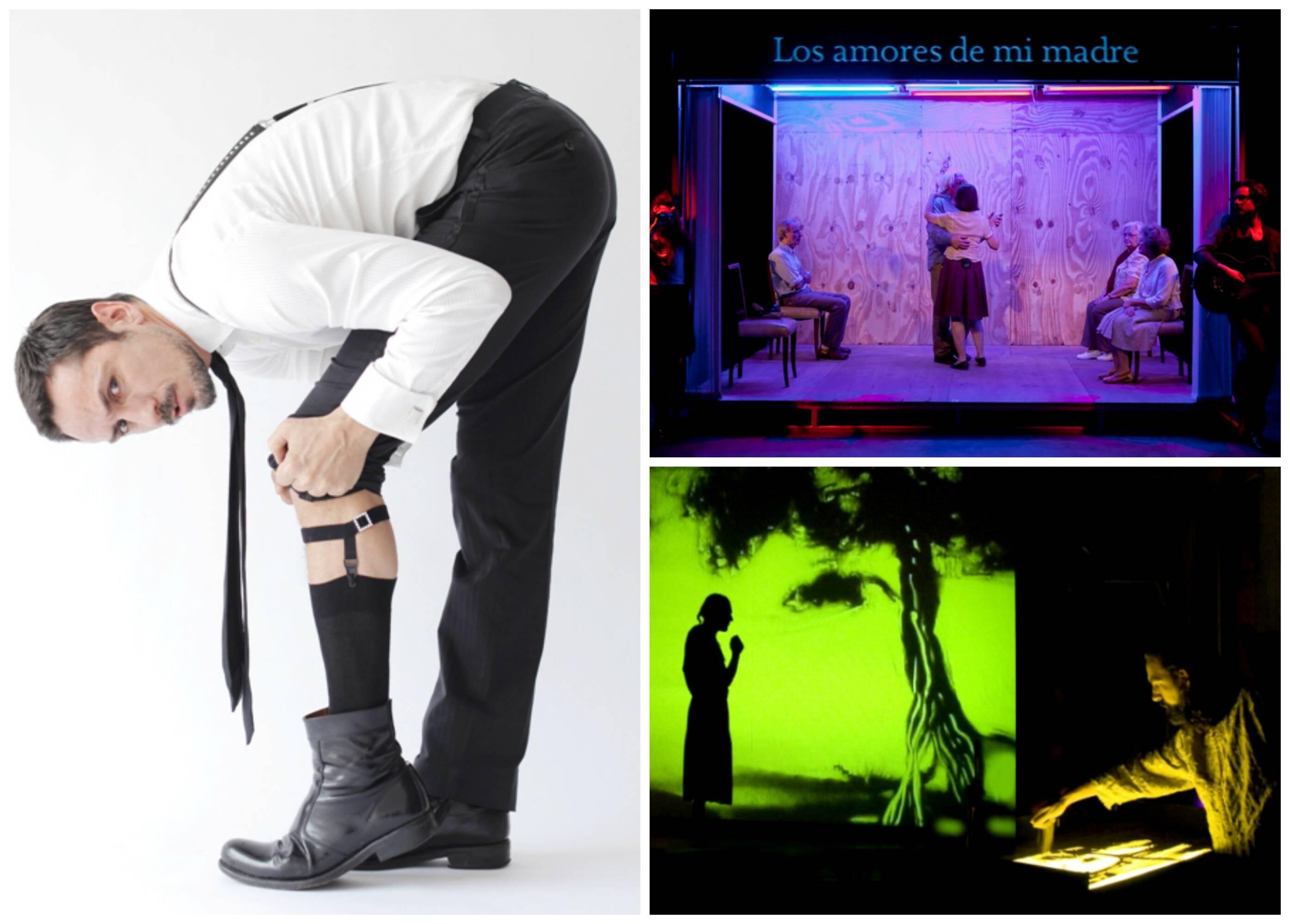 Em sentido horário, cenas de espetáculos argentinos do Festival Dois Pontos: Carlos Casella, em Babooshka; Melancolia y manifestaciones; e Bambolenat/ Fotos: divulgação