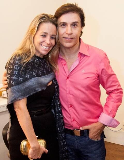Danielle Winits e Tom Cavalcante no camarim do Teatro Bradesco: os dois vão estar juntos em série do Multishow/ Foto: divulgação