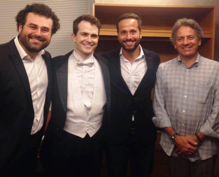 Pablo Castellar, o maestro Lee Mills, Marcelo Calero e Eleazar de Carvalho/ Foto: divulgação