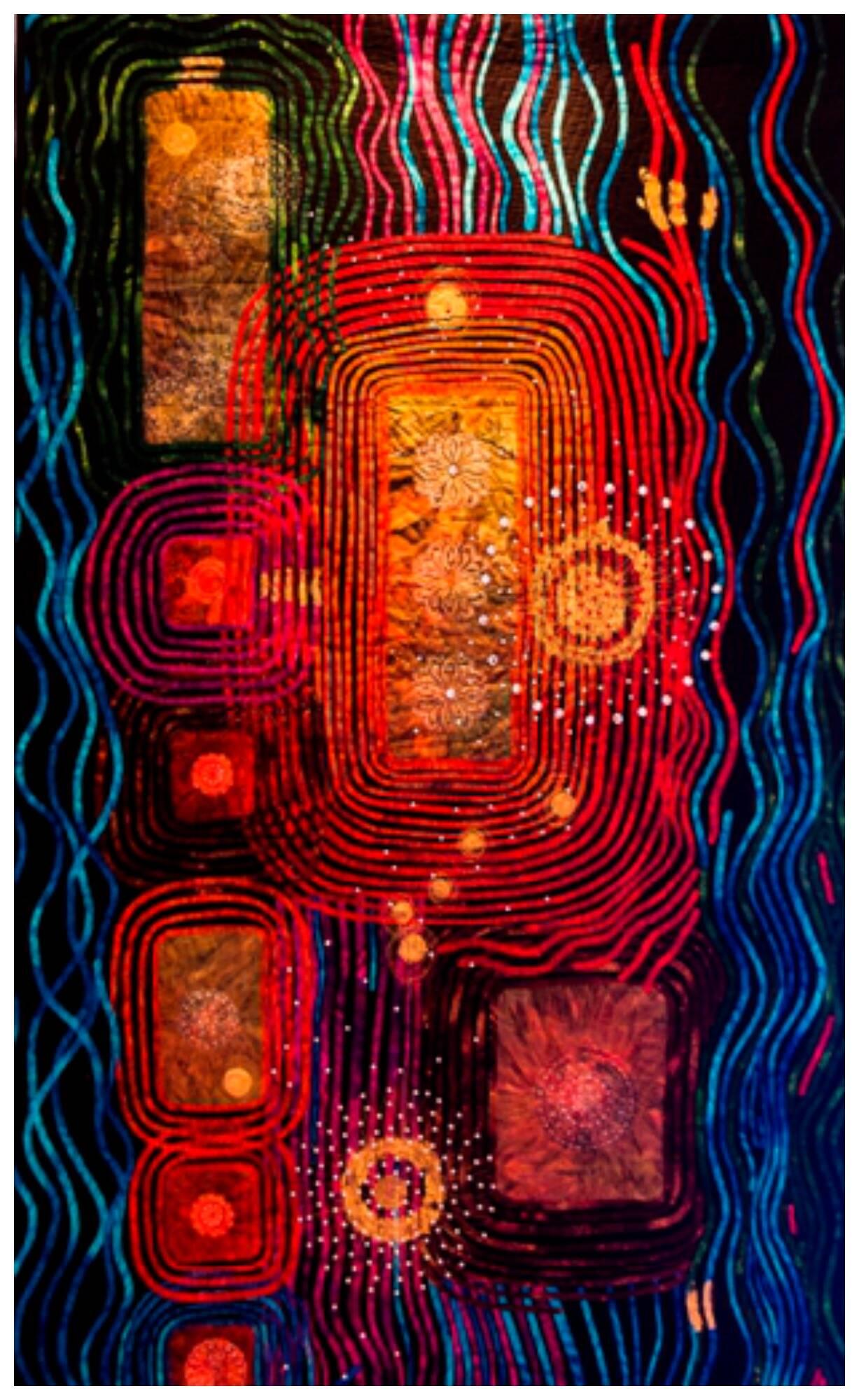 """Obra """"Retrospectiva"""", da brasileira Claudia Dias: uma dos trabalhos de patchwork da exposição 'Contemporâneo""""/ Foto: divulgação"""