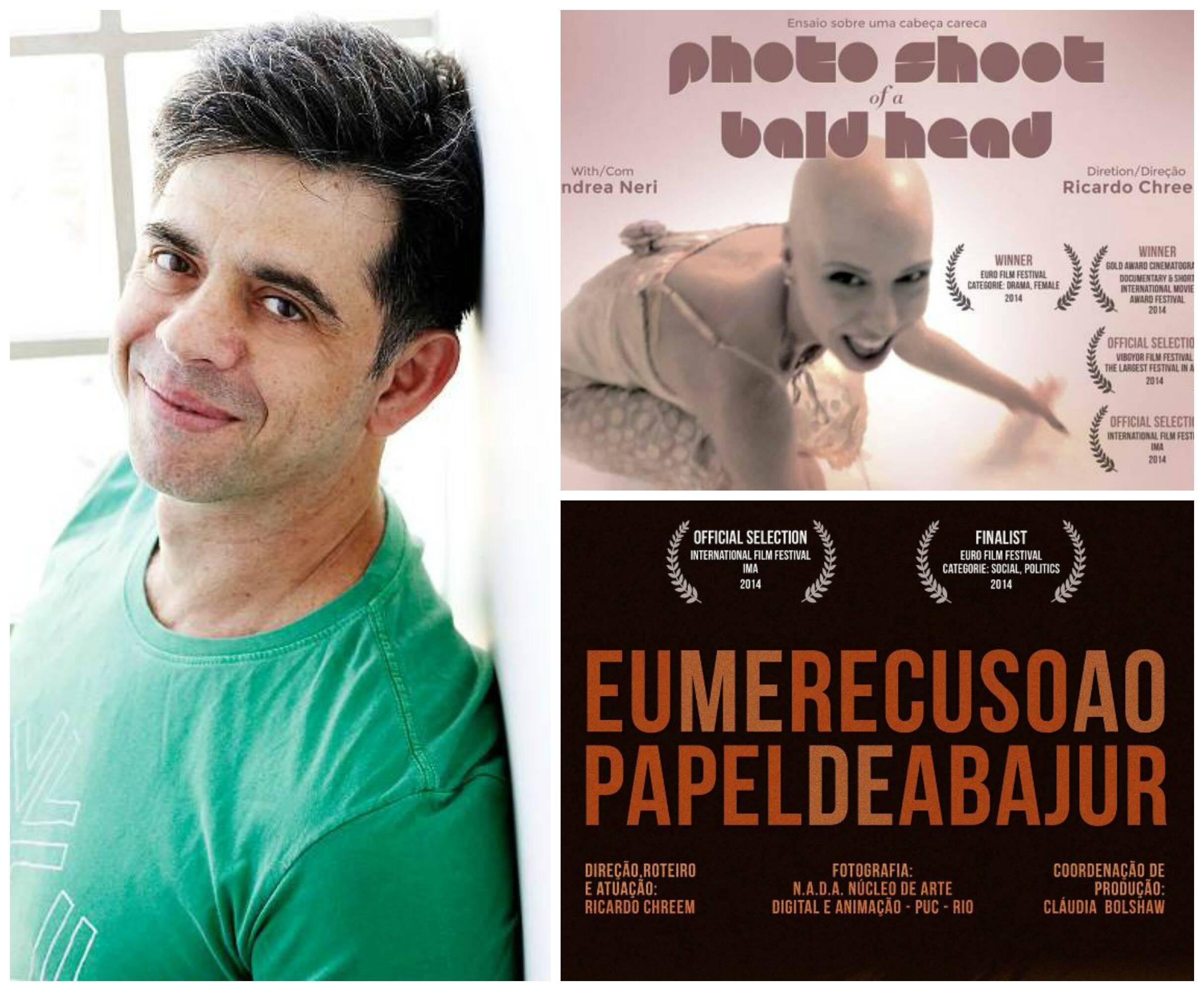 Ricardo Chreem, à esquerda, e os cartazes do seus filmes premiados no exterior/ Foto: divulgação