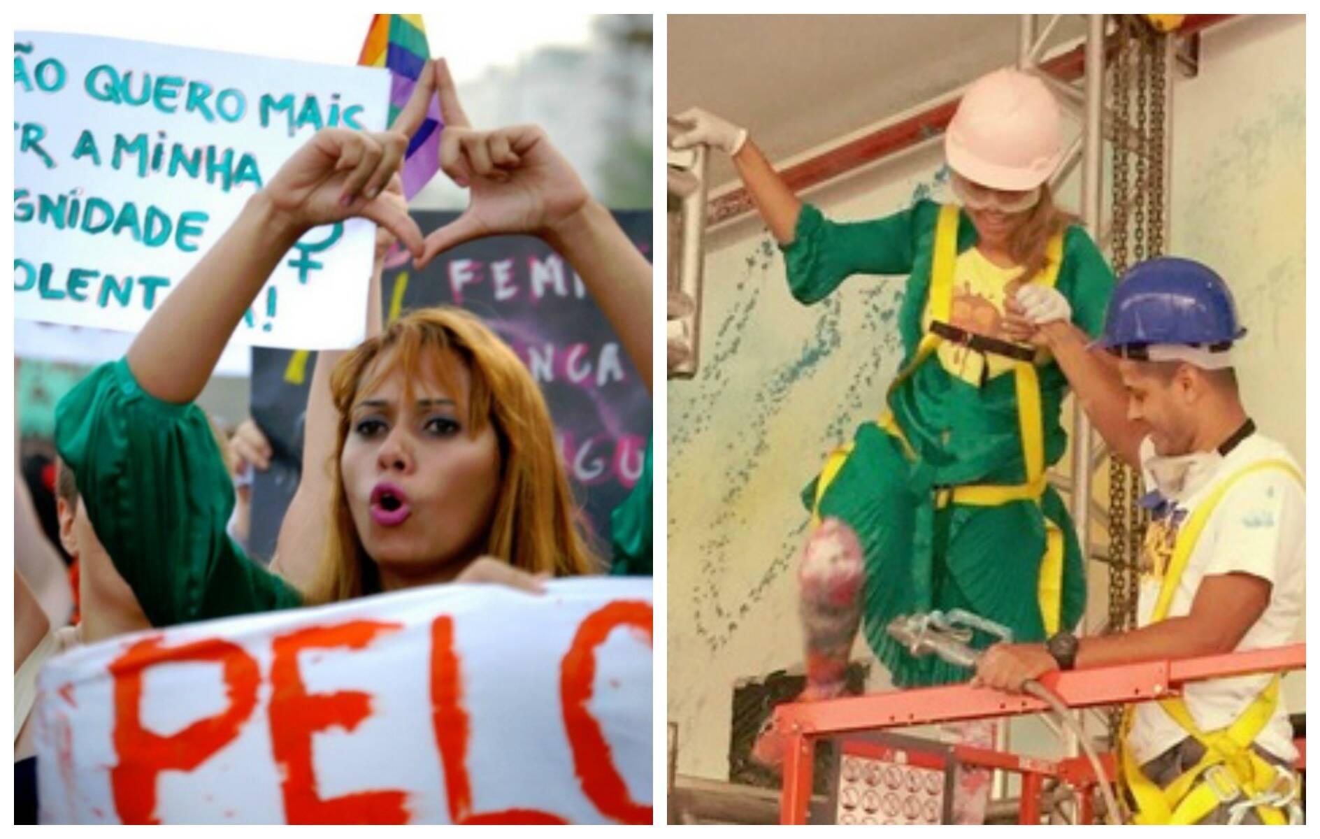 Panmela usou o famoso wrap dress inventado por Diane von Fürstenberg nas situações mais inusitadas no Rio: em sentido horário, para surfar, na linha férrea, na construção civil e para fazer um protesto/ Fotos: divulgação