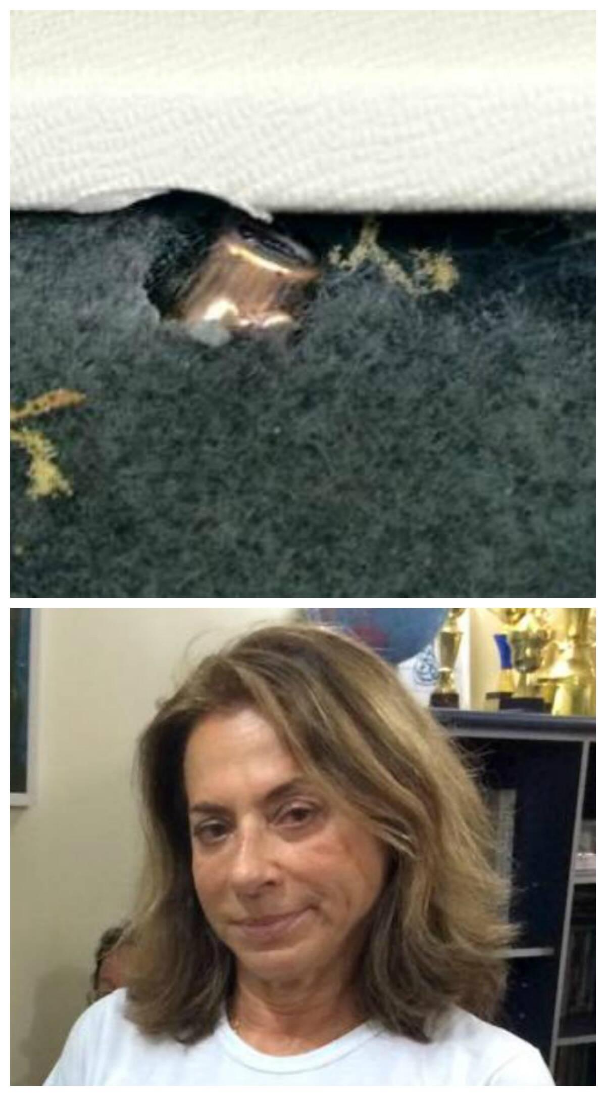 No alto, Porta do carro de professora do Projeto Uerê foi atravessada por uma bala durante o tiroteio na manhã desta quinta-feira; acima, a educadora Yvonne Beerra de Mello/ Foto: reprodução do Facebook