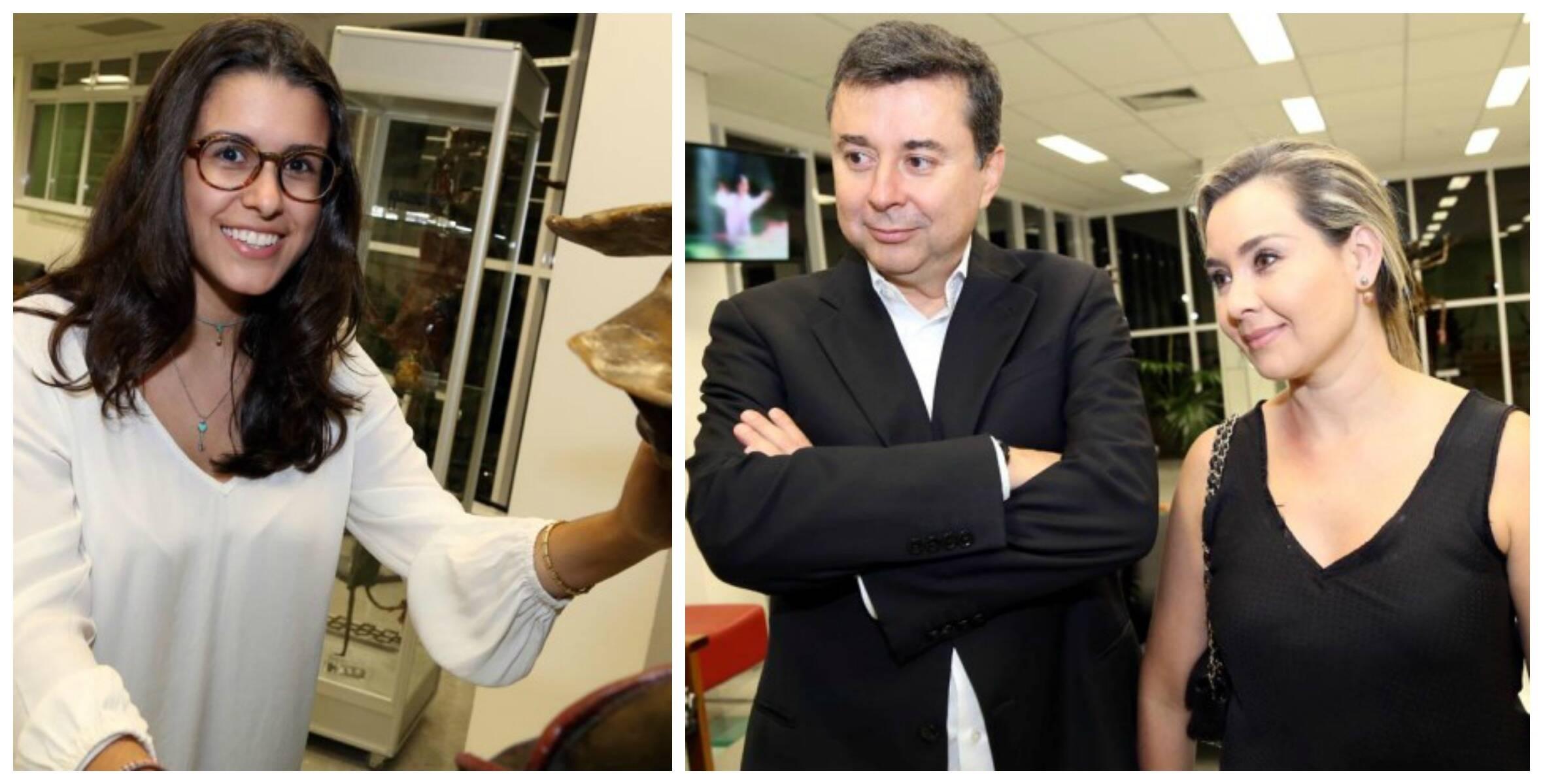 A artista plástica Sandra Guinle, no alto; acima, sua filha Maria Isabel Guinle; à direita, o presidente do Google no Brasil, Fábio Coelho, e Maria Fernanda/ Fotos: Marina Malheiros