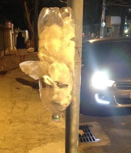 A garrafa Pet de refrigerante, presa a um poste, é usada para guardar os saquinhos/ Foto: Natália Vianna