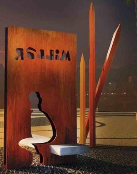Monumento do Millôr: no próximo dia 27, quando faz três anos da morte de Millôr Fernandes, o monumento projetado por Jaime Lerner, no Arpoador, estará novinho outra vez / Foto: reprodução