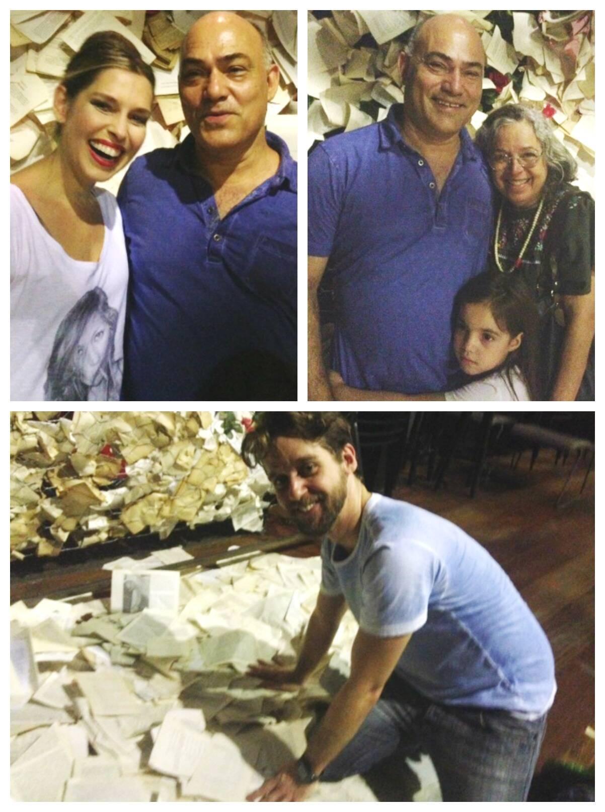 Em cima, à esquerda, com Delson Antunes; ao lado, Delson com Camilla Amado e a filha, Maria Luiza; e, embaixo,