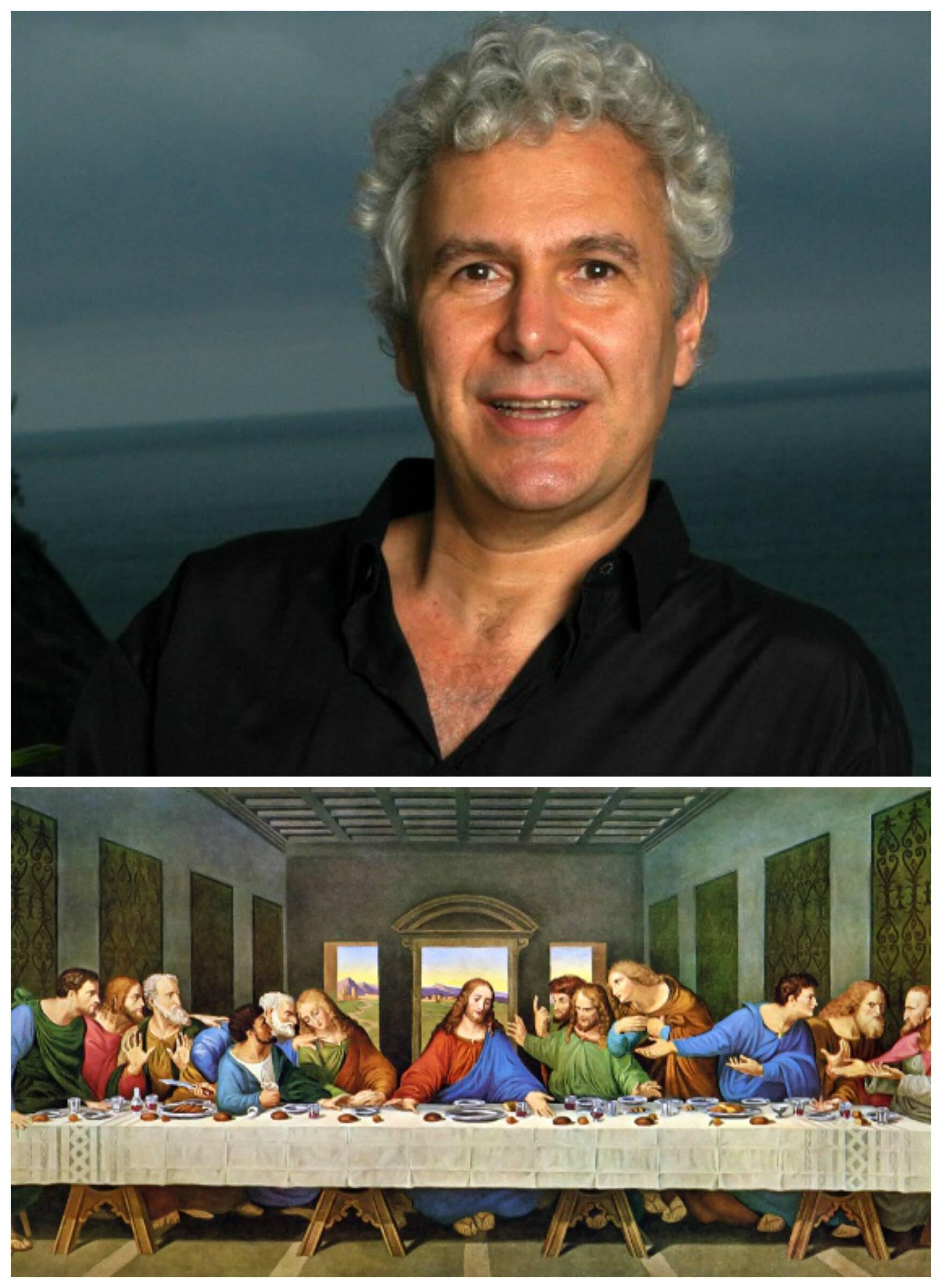"""Pedro Tornaghi, no alto, e o quadro """"A Última Ceia"""", de Leonardo da Vinci, objeto de estudo de seu livro/ Fotos: divulgação"""