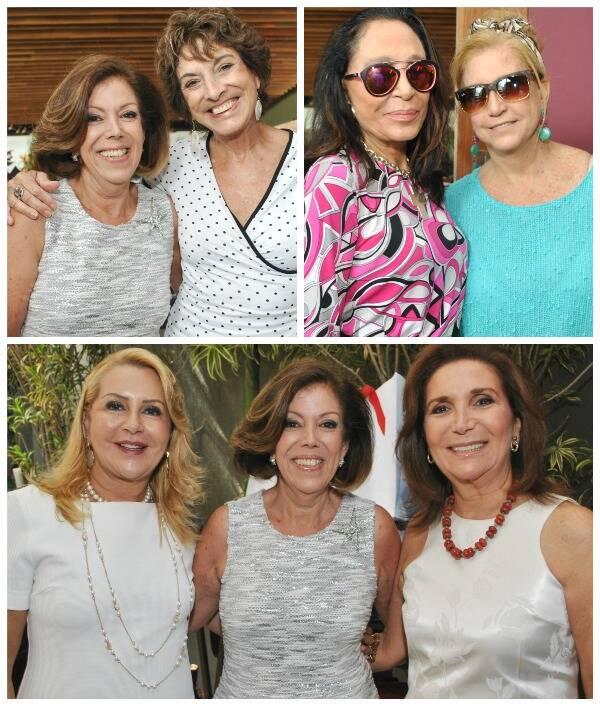 Em cima, à esquerda, Sylvia de Castro com Lygia Azevedo; ao lado, Myriam Gallard com Madeleine Saade; e, embaixo, Isis Penido, Sylvia de Castro e Ruth Niskier/ Fotos: Armando Araújo