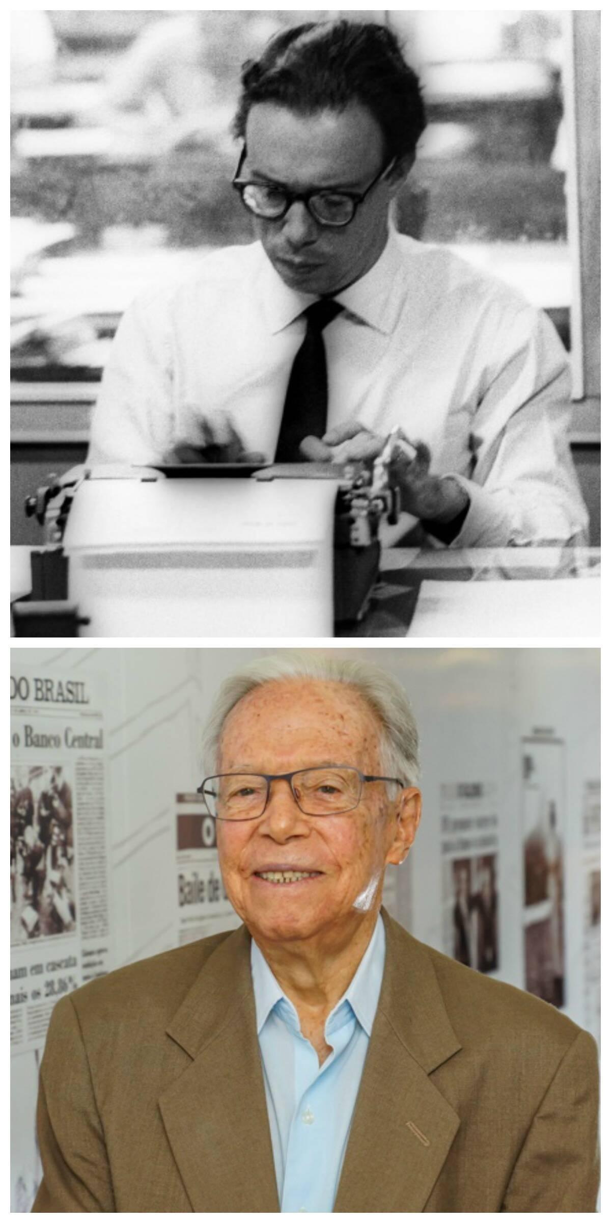 No alto, Wilson Figueiredo nos anos 70, na redação do Jornal do Brasil e, acima, nos dias de hoje/ Foto: Acervo JB e  André Maceira