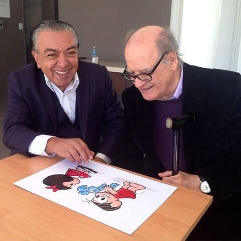 Mauricio com Quino na Argentina - comemoração 50 anos Mafalda - 2015
