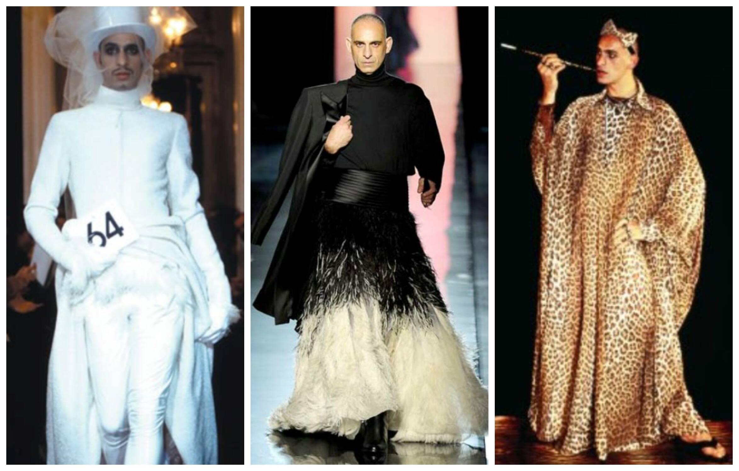 O modelo Tanel em três momentos nas passarelas de Gaultier: no centro, ele está com um vestido de noiva/ Fotos: reprodução da internet