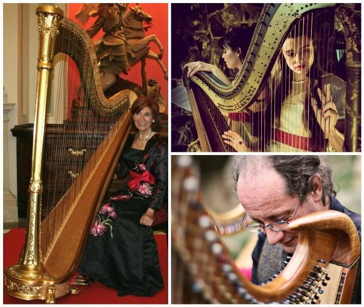 No sentido horário, os harpistas, Rosa Maria Calvo y Manzano, Sonata Cuasi Capricciosa e Enrico Euron / Fotos: divulgação