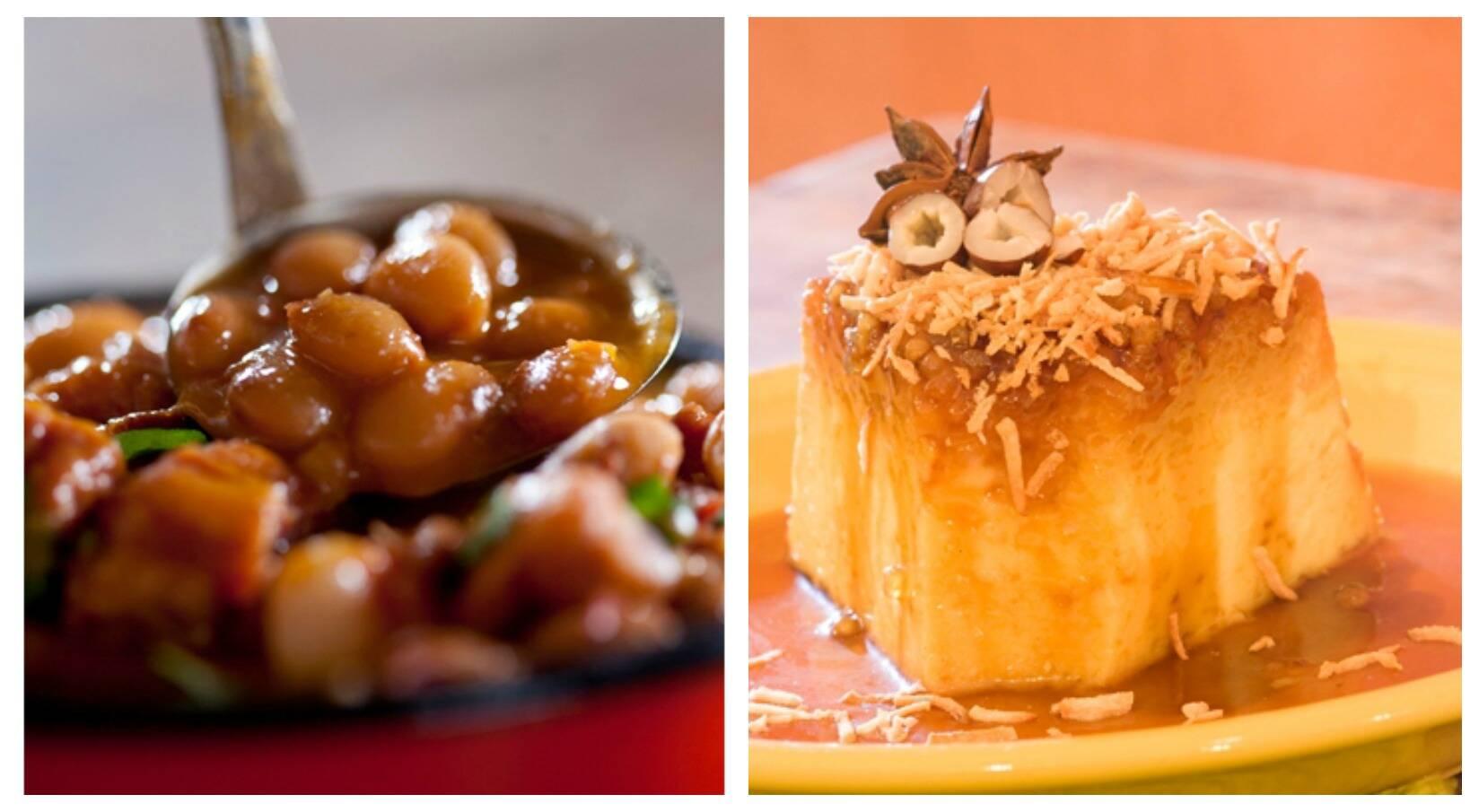 Na foto, dois pratos de sucesso do restaurante: a Mocofava e o Pudim de Tapioca