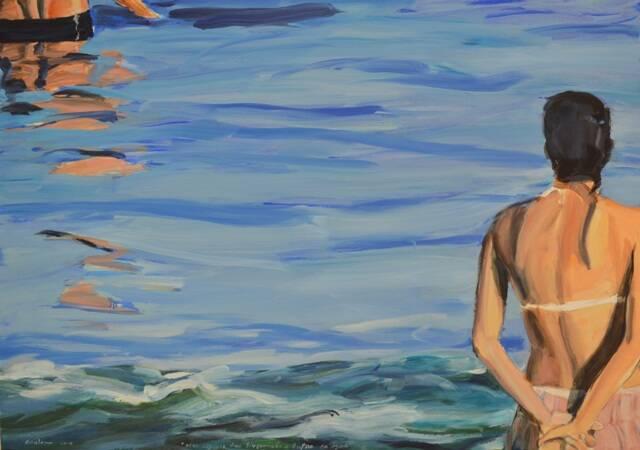John Nicholson_Duas figuras, uma na água com a outra observando_Óleo sobre tela_96cmX135cm_2014