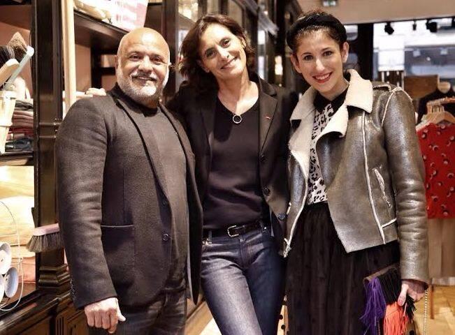 Inês de La Fressange entre Paulo Pereira e Paula Rita Saady: depois de recuperar seu nome, a ex-modelo inaugura loja em Paris