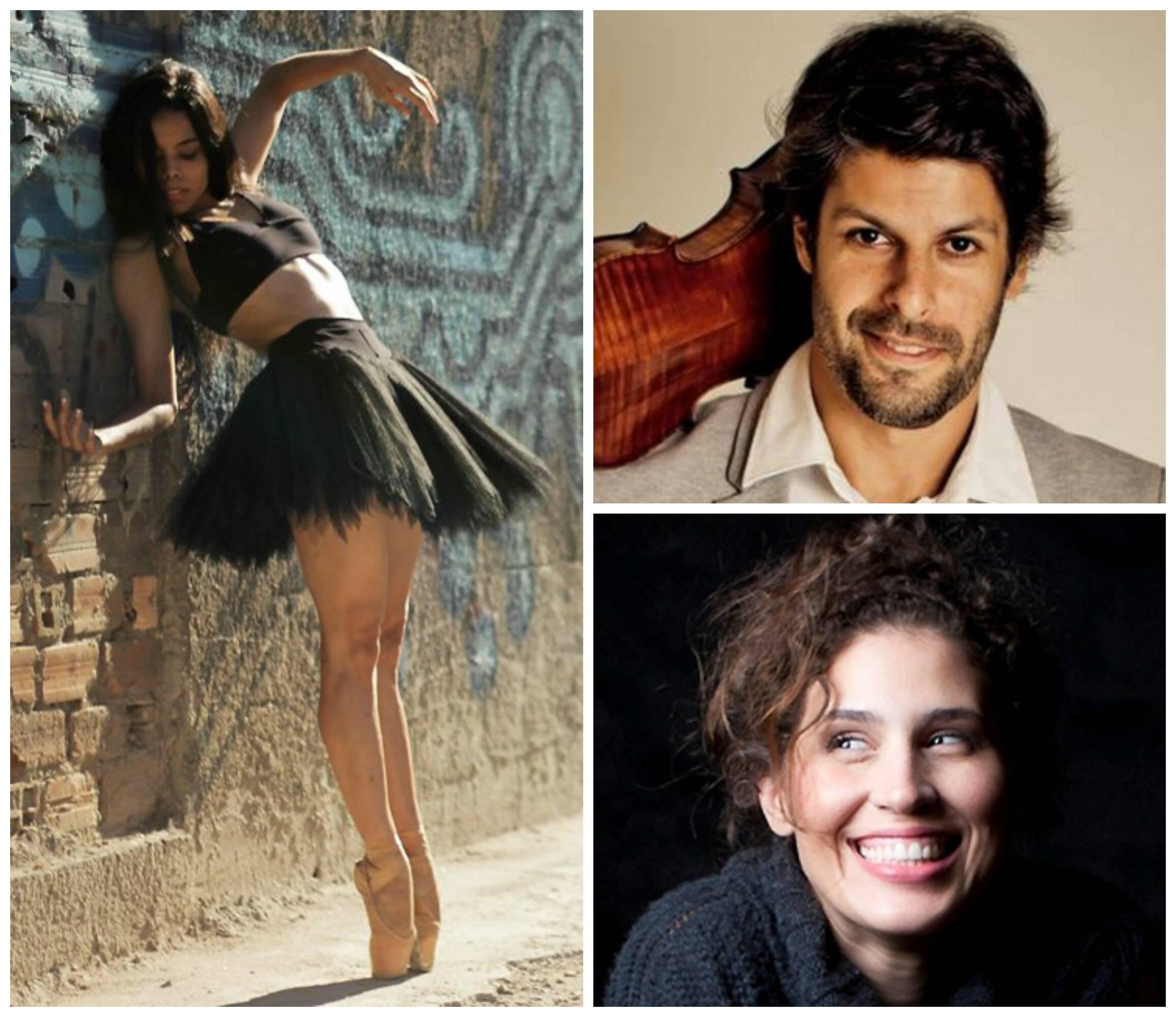 Em sentido horário, a bailarina Liana Vasconcelos; o violinista Felipe Prazeres e a mezzo soprano Carolina Faria/ Fotos: divulgação