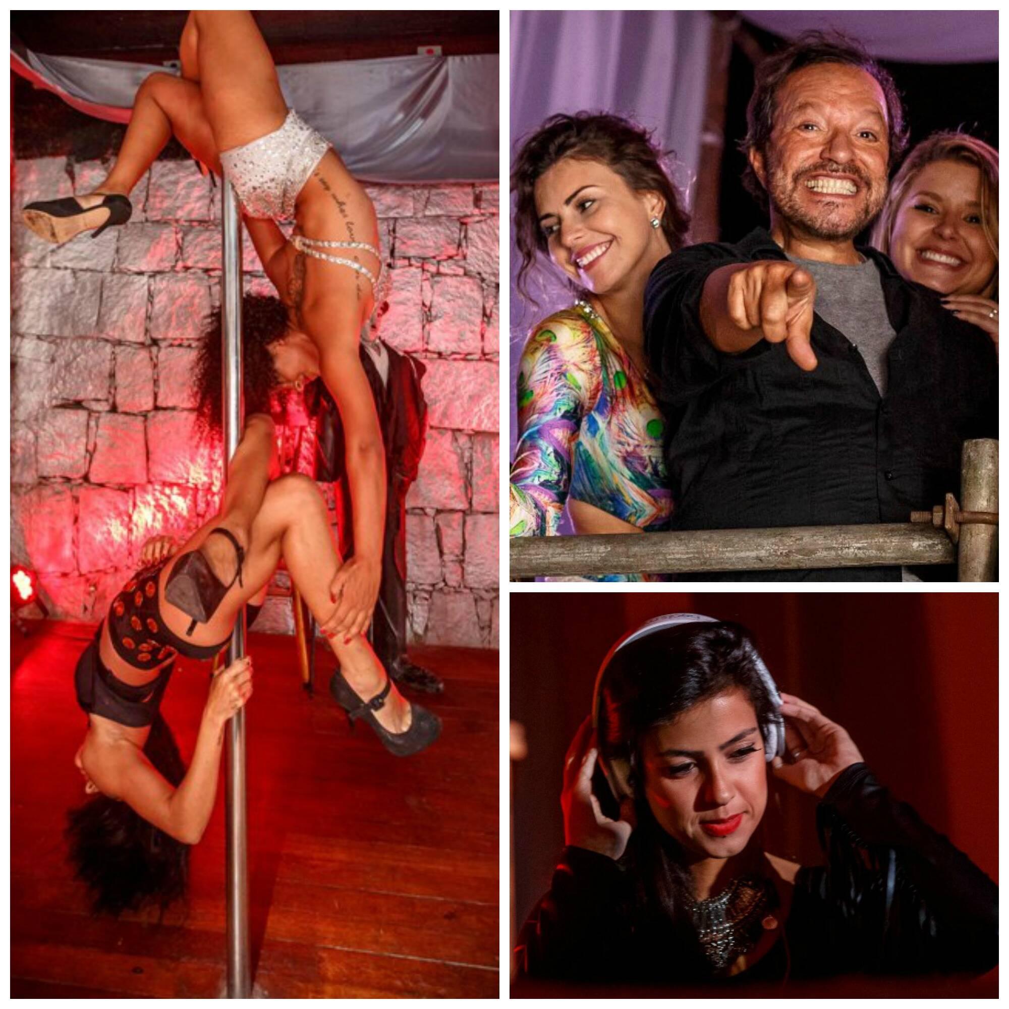 No alto, Gabriel Medina e Rafael Zulu; acima, em sentido horário, as meninas no pole dance; Renata Bonjesus, Wolf e Manu Maya; a DJ Andressa Fleming/ Fotos: Marcos Samerson/Agência We love Photo!