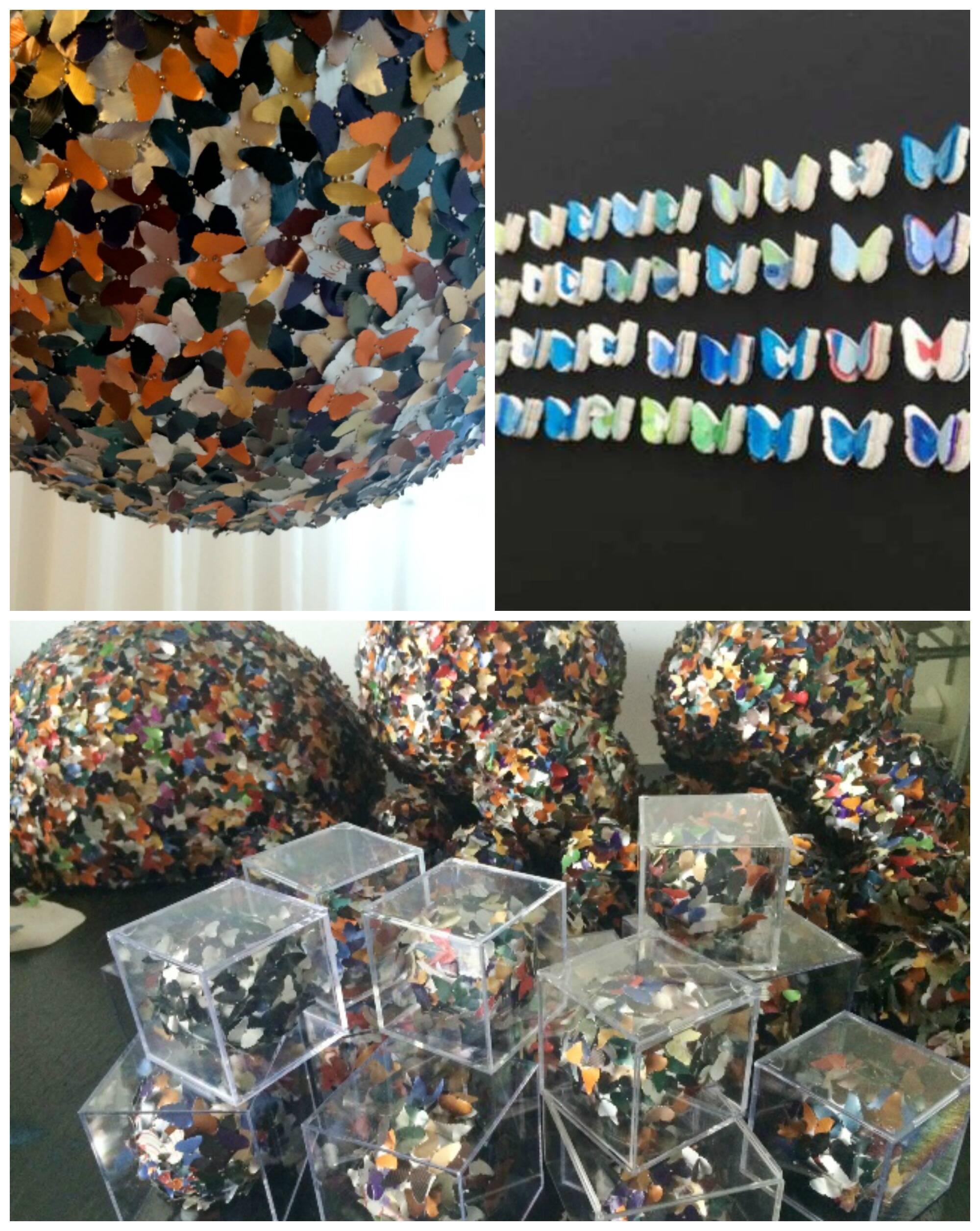 As cápsulas de café expresso, com suas cores vibrantes e metalizadas, foram recicladas por Patrícia para a exposição que ela abre no Museu do Meio Ambiente no Jardim Botânico/ Fotos: divulgação
