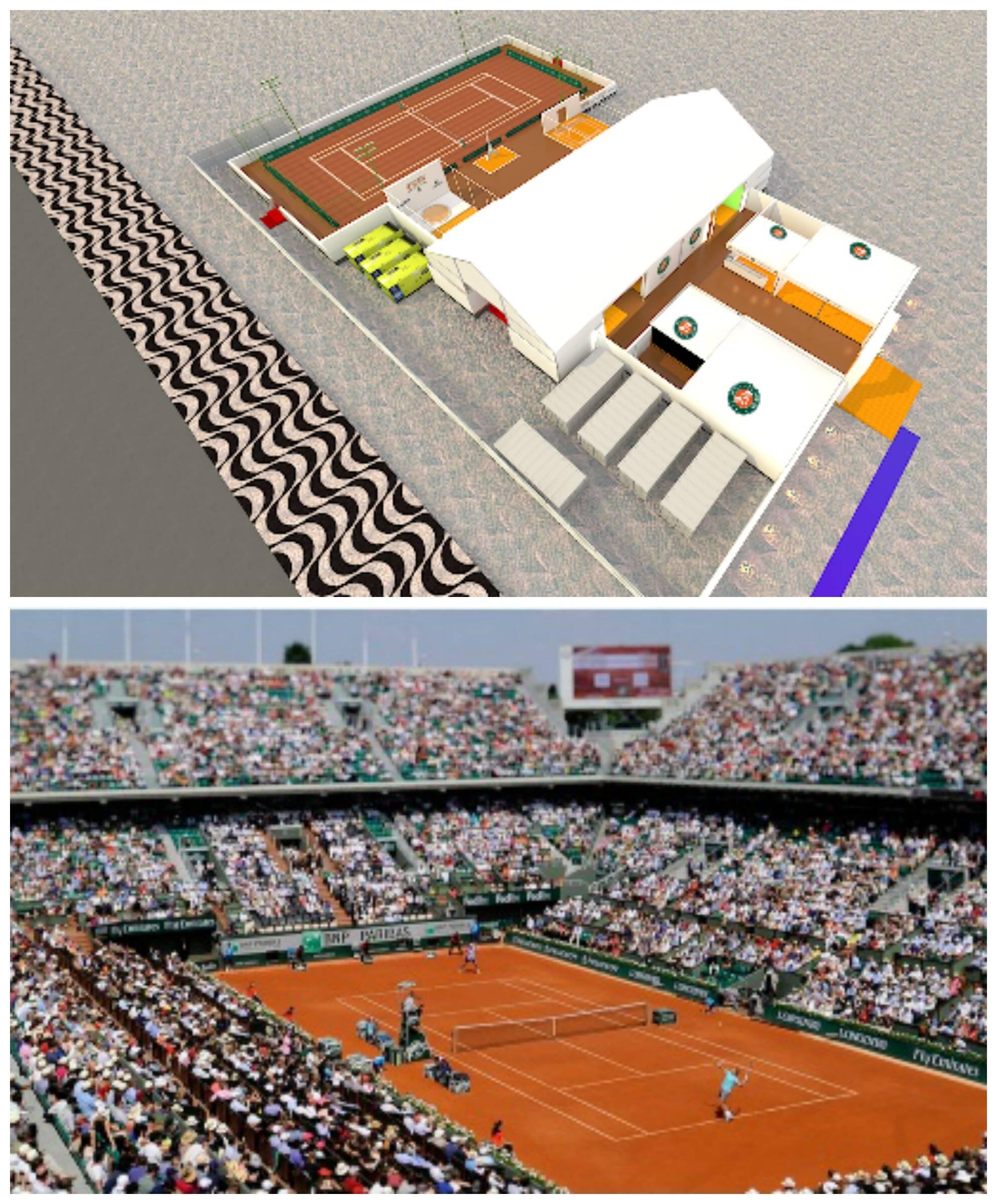 No alto, a simulação em 3D da estrutura que está sendo construída na praia do Leme; abaixo, o estádio francês de Roland Garros/ Fotos: divulgação