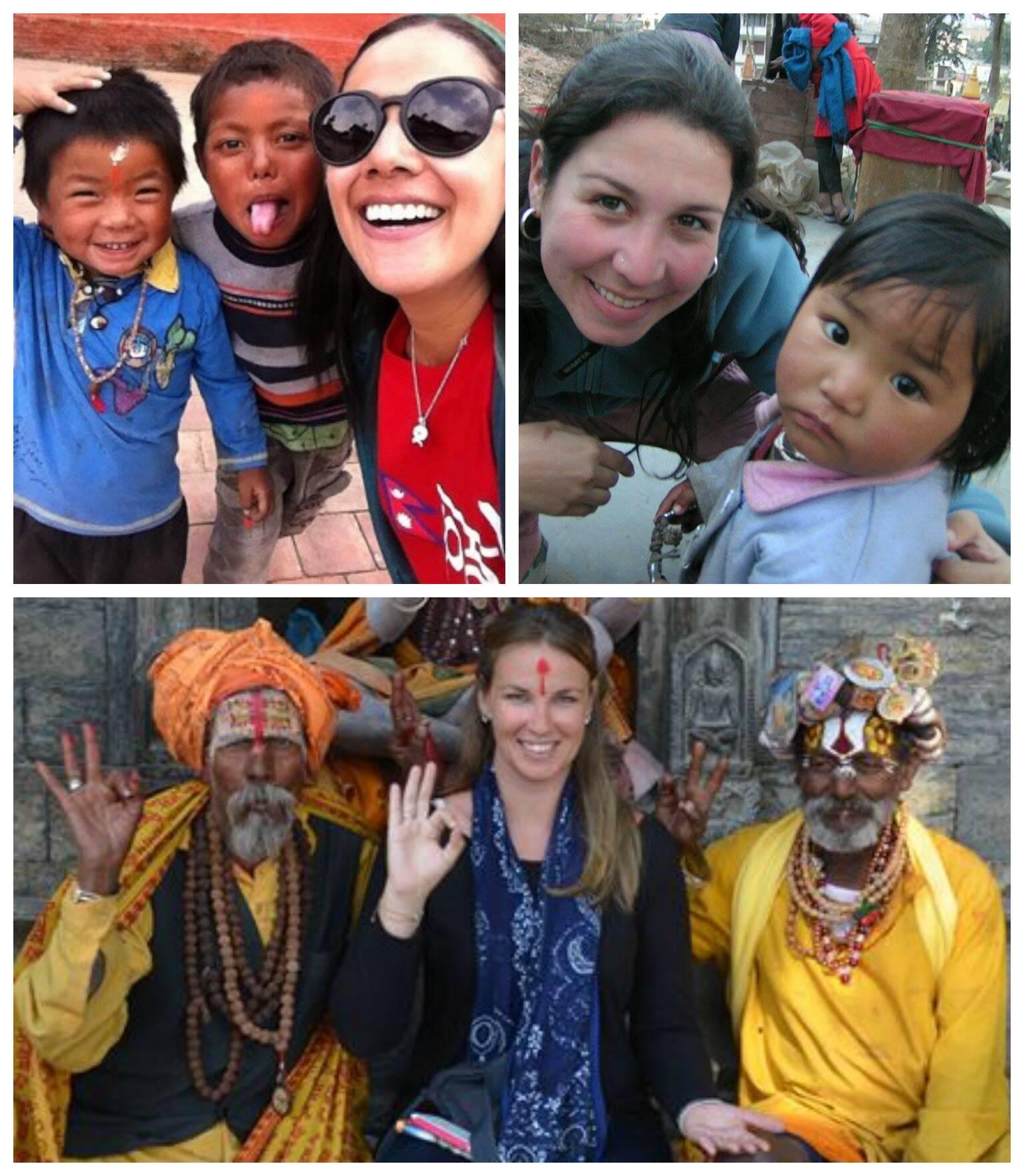 No sentido horário: Mariana Tavares com crianças; Ana Beatriz Freccia com uma menina local; e, Heda Wenzei com nepalenses.