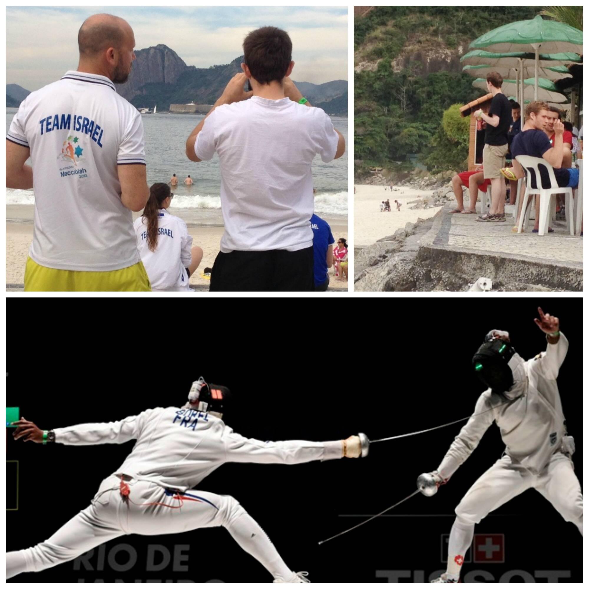 No alto, esgrimistas admiram a paisagem tirando fotos ou nas barracas da praia; acima, dois atletas em ação/ Fotos: divulgação