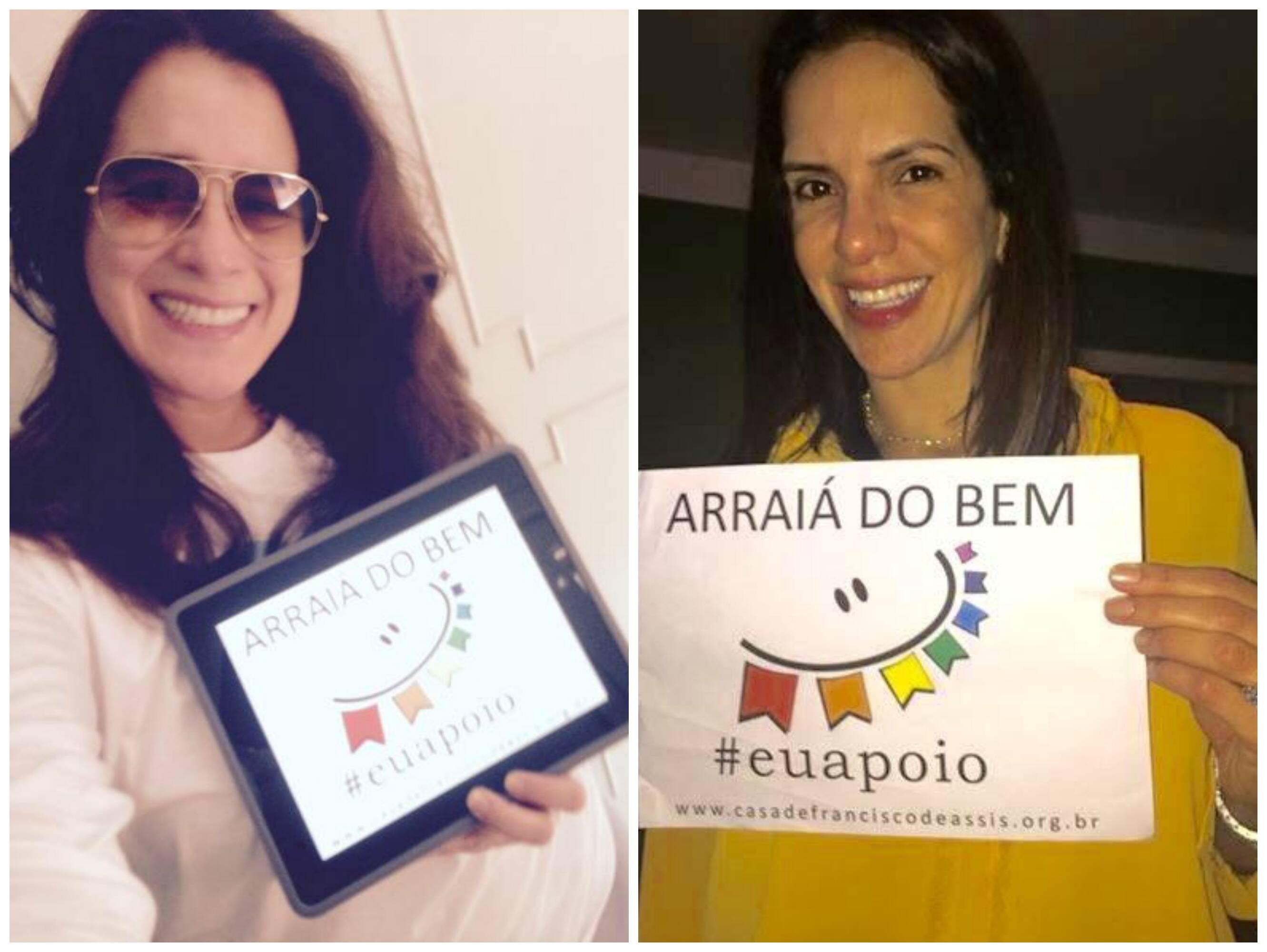 A atriz Lúcia Veríssimo e a ex-jogadora de vôlei Virna: na campanha de divulgação da festa junina de Laranjeiras/ Fotos: divulgação