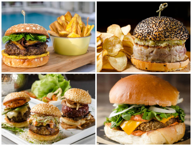 Em sentido horário, o hambúrguer do Copacabana Palace, com carne de cordeiro, servido na Pérgula; o do Londra,  de atum no poão de cebola roxa; o do Brother's , no Shopping da Gávea, de carne a milanesa; e o do OMG Lounge, em três sabores: kobe com lagosta, o tríade suína, com lombo de porco, bacon e lingüiça, e o de camarão e cação/ Fotos: Lipe Borges